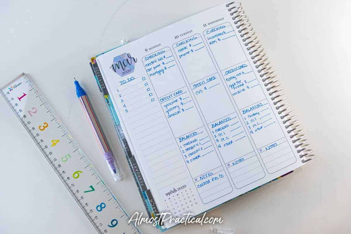Erin Condren LifePlanner vertical layout used as a budget planner