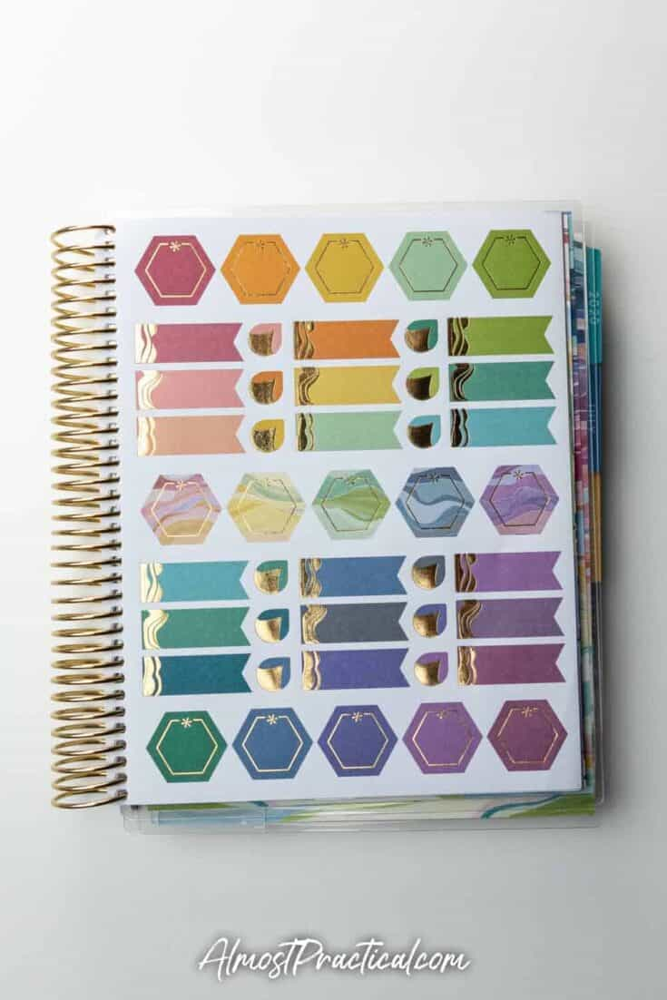 A page of planner stickers included in the Erin Condren LifePlanner colorful Layers Design