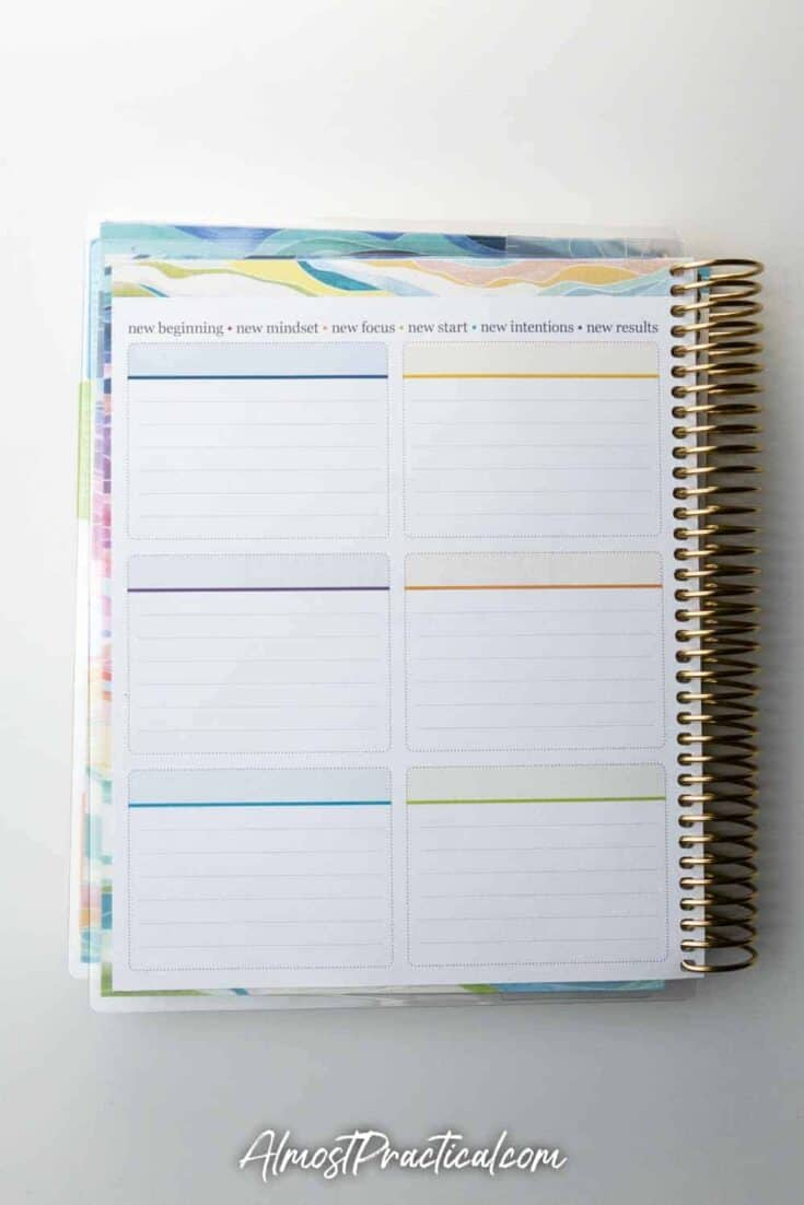 Goals and intentions pages in the Erin Condren Daily LifePlanner 2020-2021