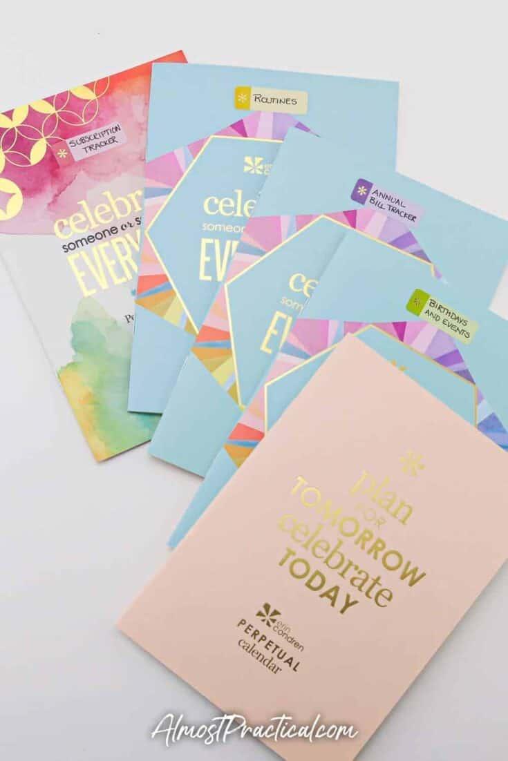 4 Erin Condren Perpetual Calendars fanned out.