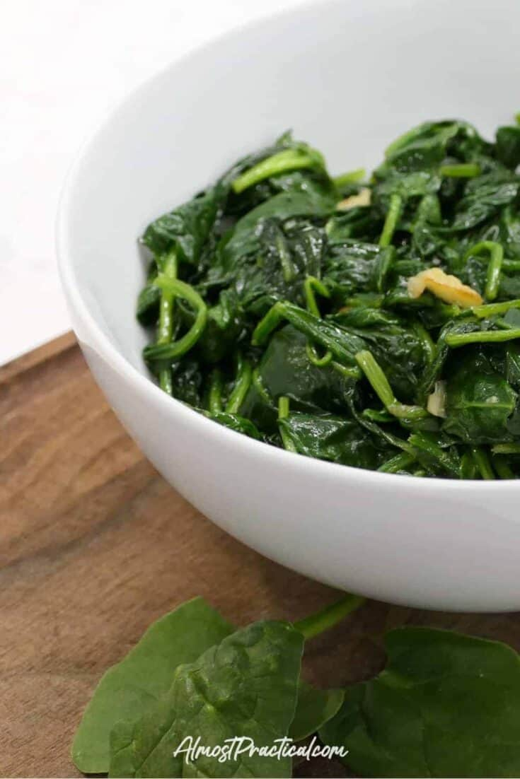 Wilted Spinach with Garlic in a serving bowl.