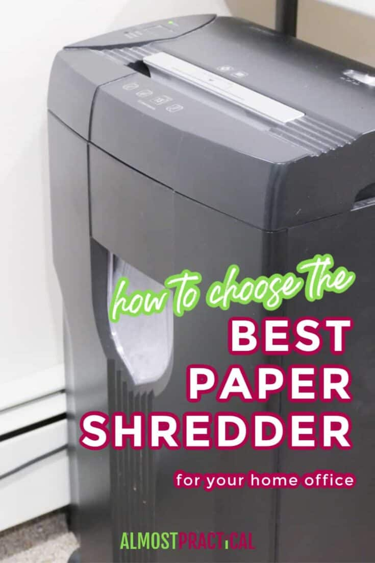 paper shredder next to a table