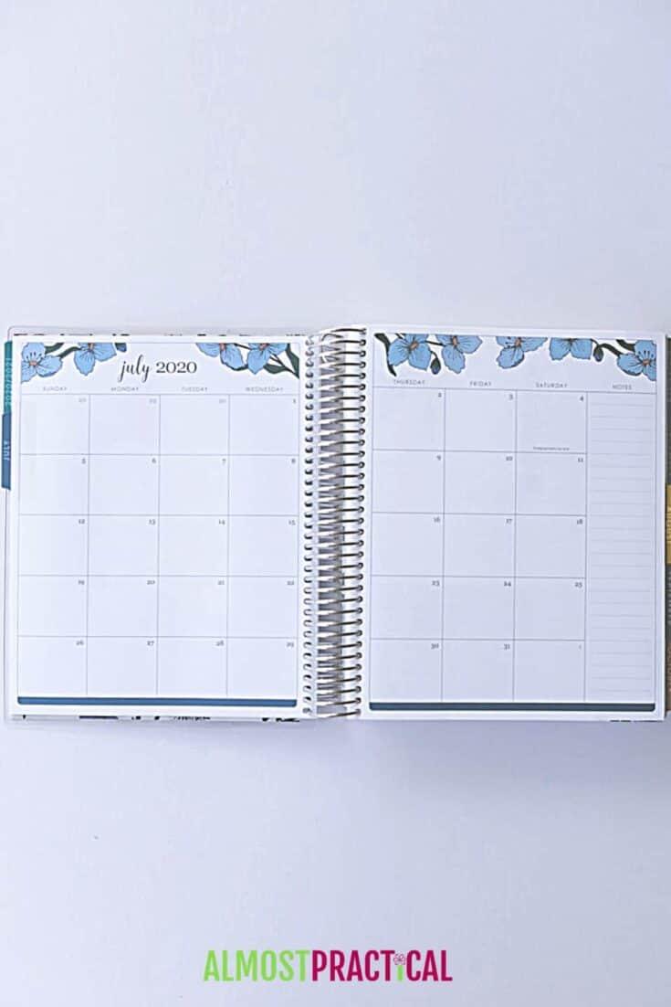 Erin Condren Flower Power LifePlanner monthly layout