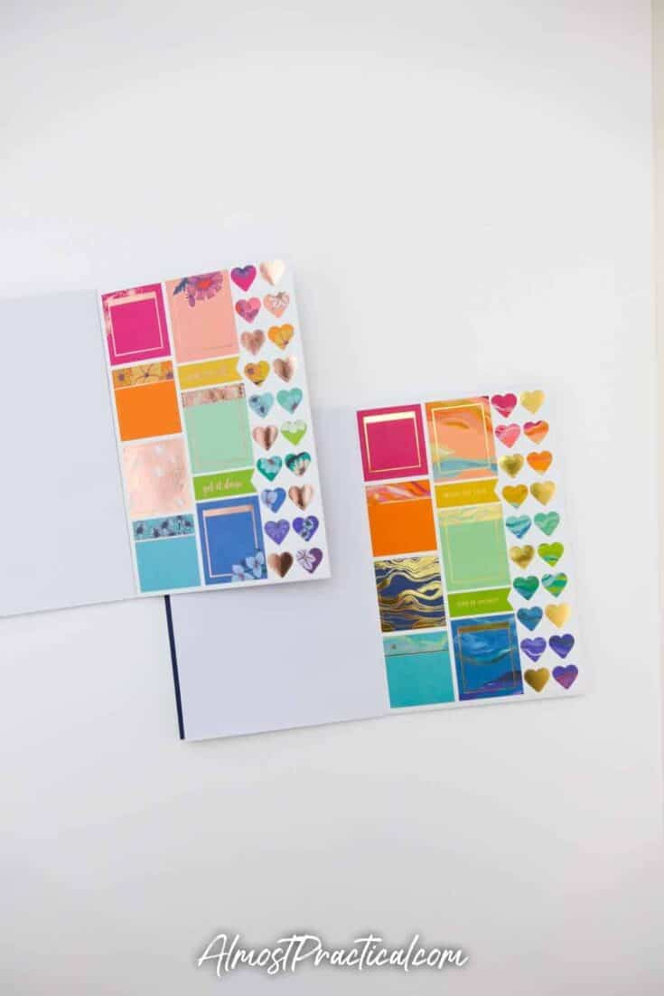 Erin Condren Flower Power Sticker Book and Layers Sticker book side by side - page 10