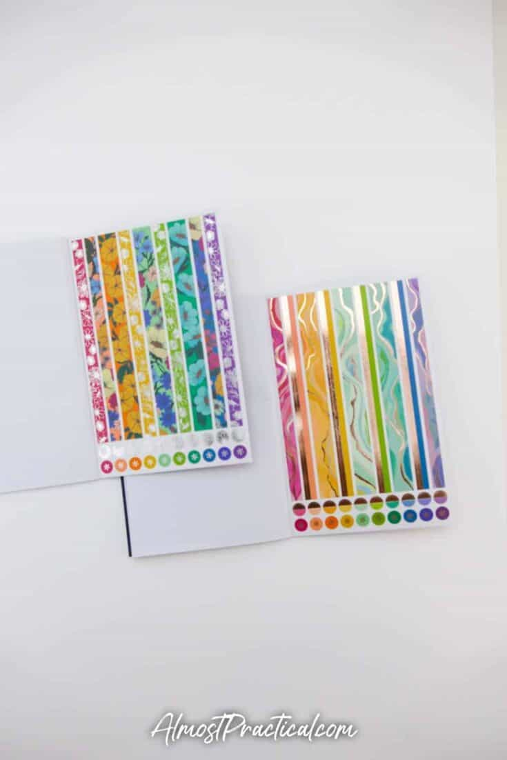 Erin Condren Flower Power Sticker Book and Layers Sticker book side by side - page 11