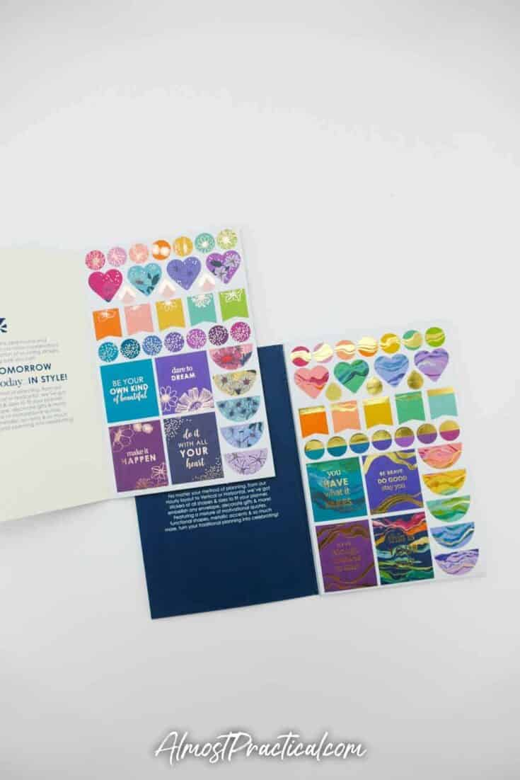 Erin Condren Flower Power Sticker Book and Layers Sticker book side by side - page 1