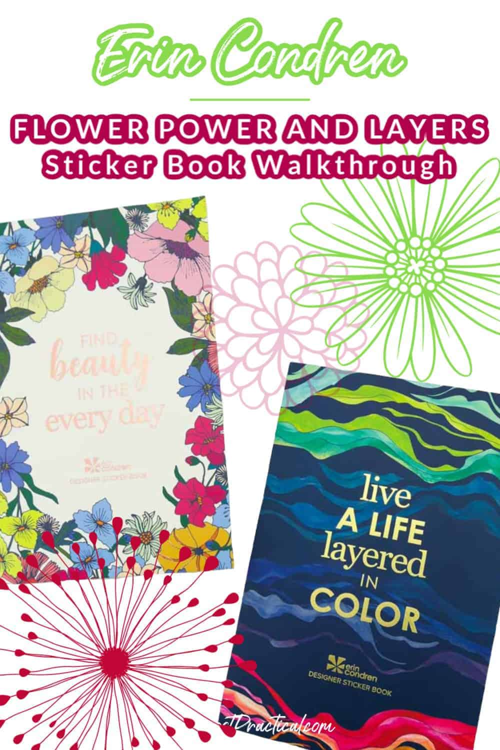Erin Condren Flower Power Sticker Book and Layers Sticker book side by side
