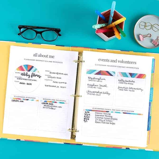 About and event pages in the Erin Condren Teacher Lesson Planner Binder.
