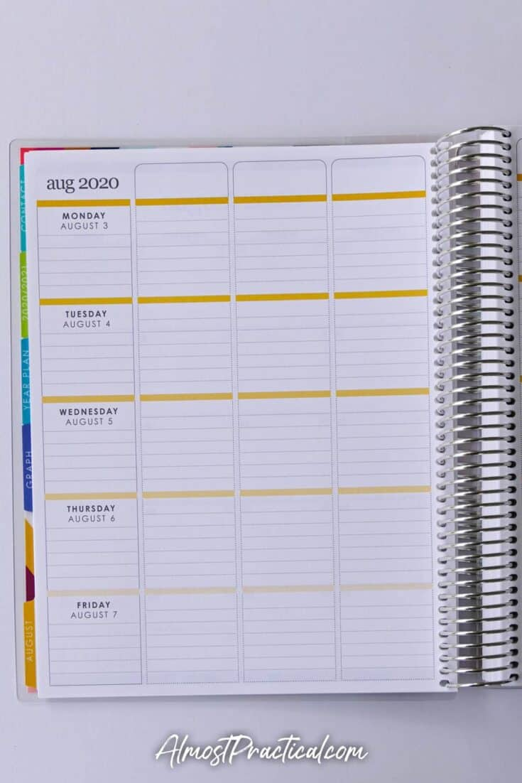 Weekly Lesson Plans in Erin Condren coiled teacher planner
