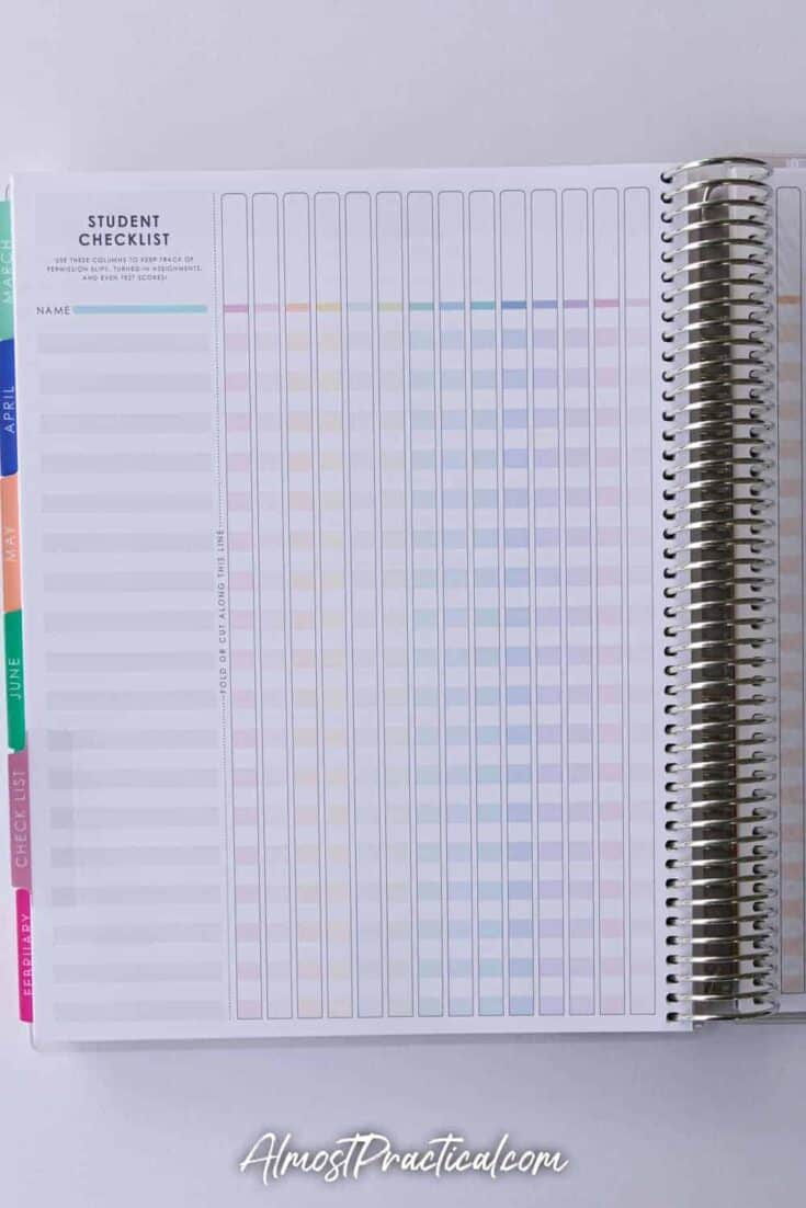 Checklist pages in the Erin Condren coiled teacher planner.