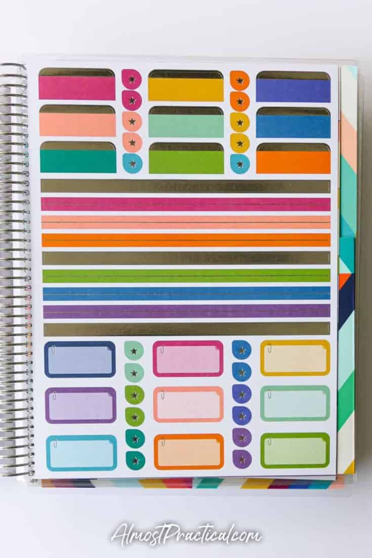 Sticker pages in the Erin Condren Coiled Teacher Planner for 2020/2021