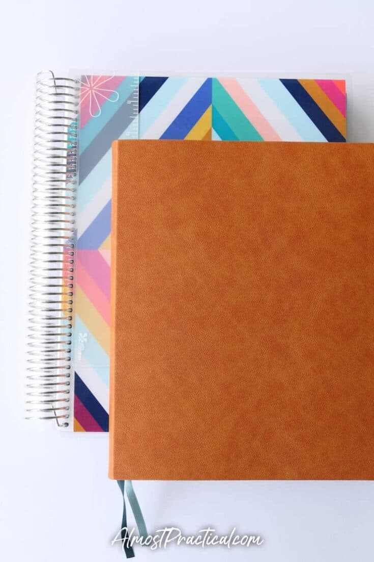 The Erin Condren soft bound teacher lesson planner on top of the Coiled teacher planner - so you can compare the size.