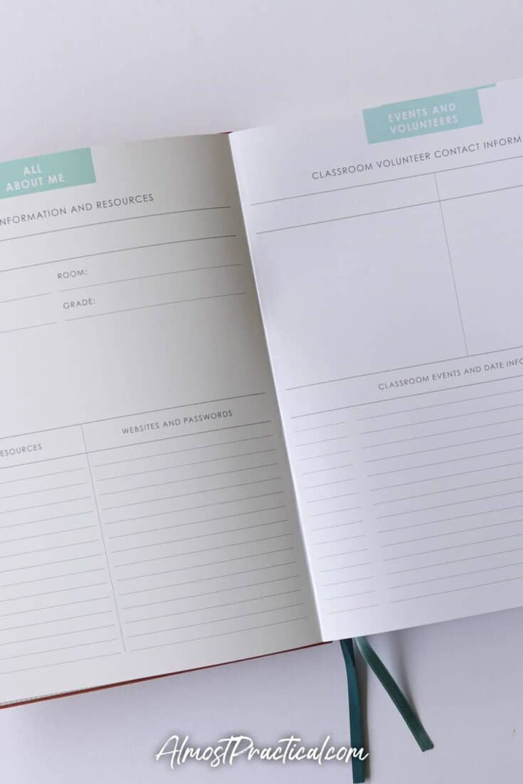 About and event pages in the Erin Condren Soft Bound Teacher Lesson Planner for 2020/2021.