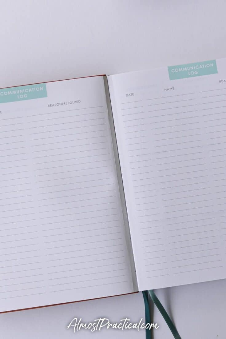Communication log in the Erin Condren Soft Bound Teacher Lesson Planner for 2020/2021.