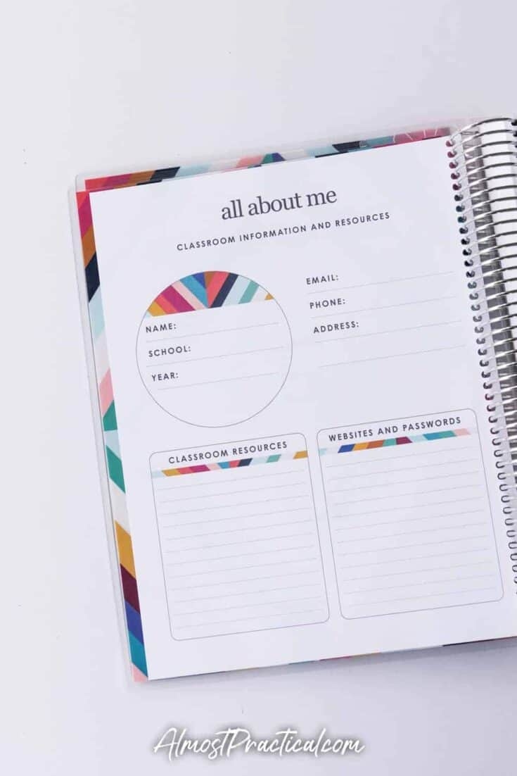 About Me Page in the Erin Condren 2020-2021 Teacher Lesson Planner