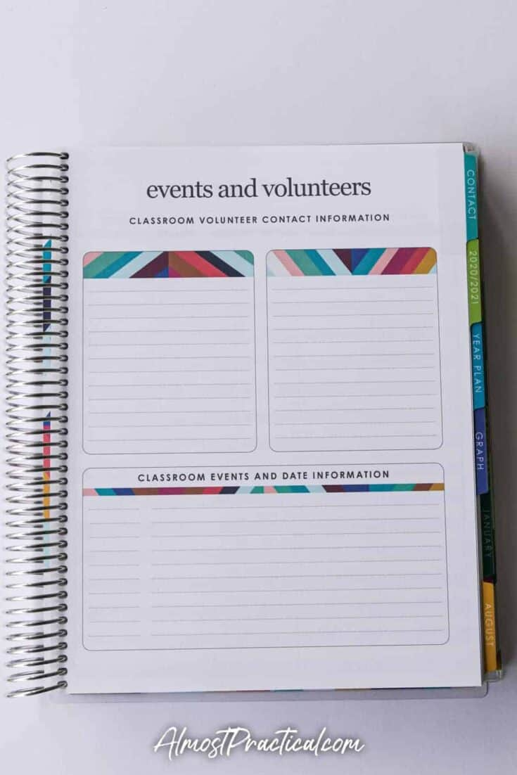 events page in the Erin Condren coiled teacher lesson planner for 2020/2021