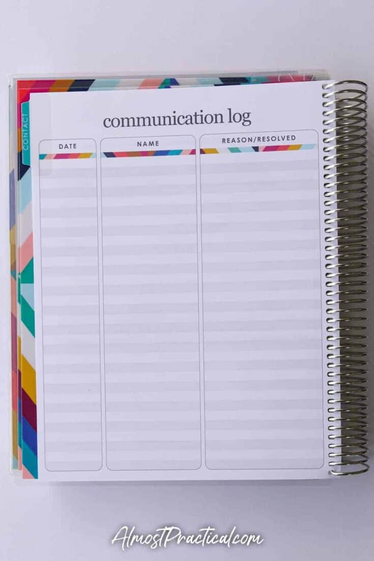 Communication log in the Erin Condren Coiled Teacher Planner
