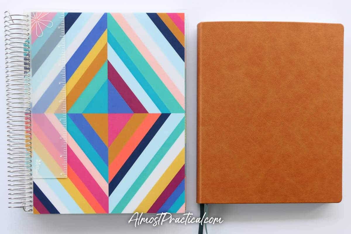 The coiled and the soft bound Erin Condren Teacher Lesson Planners side by side.