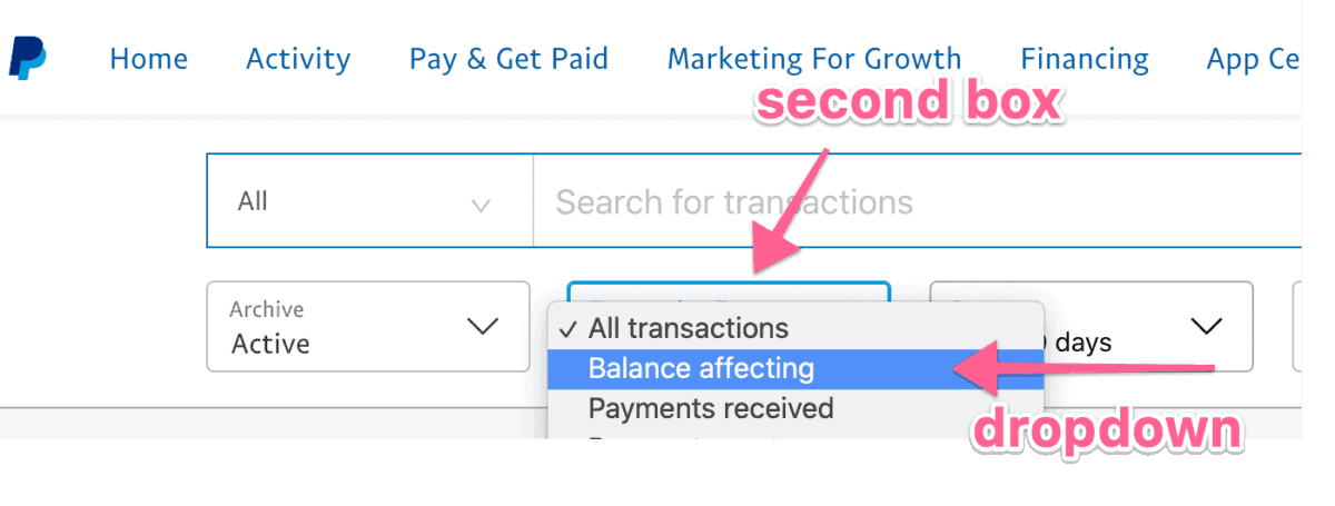 screenshot from PayPal to find running balance