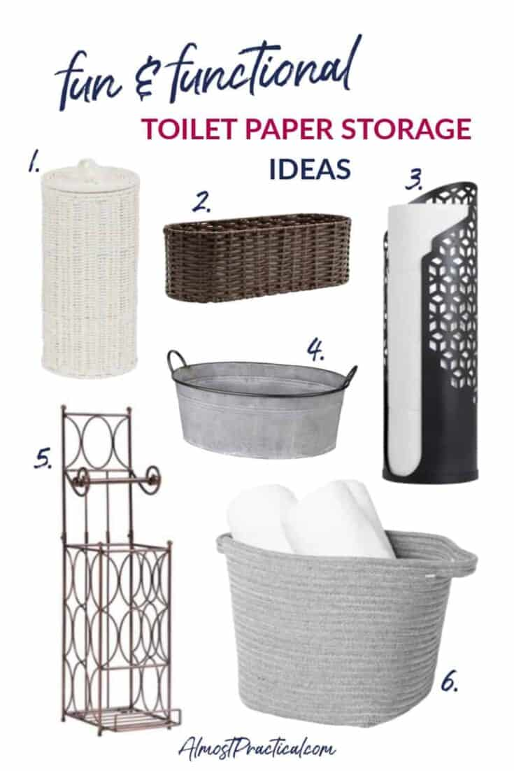 a collage of 6 different toilet paper storage holders, baskets, and stands.