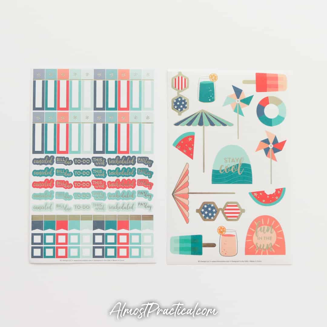 Erin Condren July planner sticker sheets