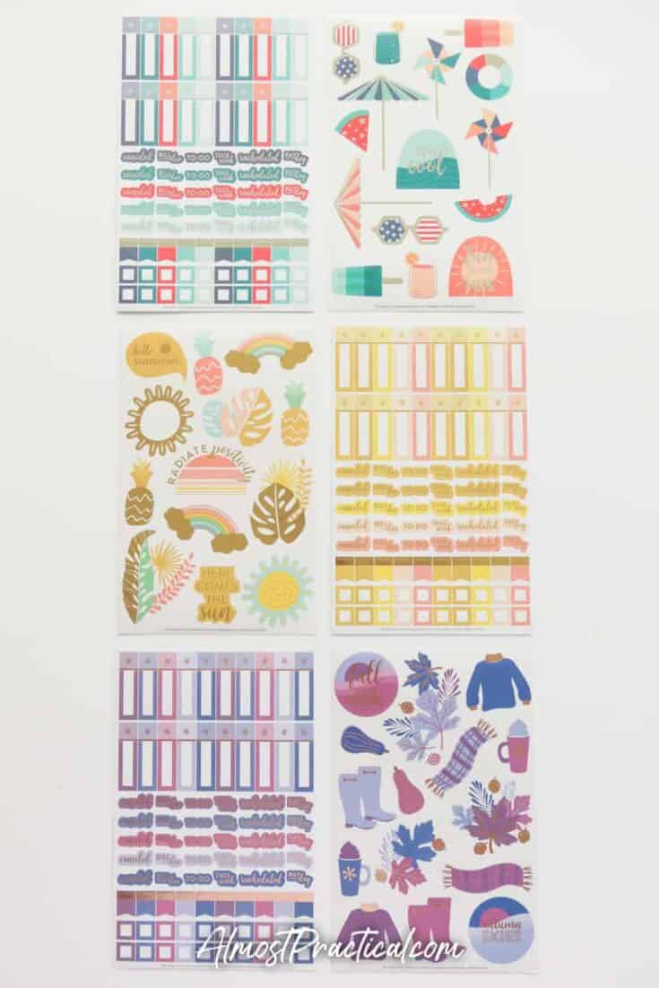 Erin Condren Sticker Club Stickers for June 2020 all laid out