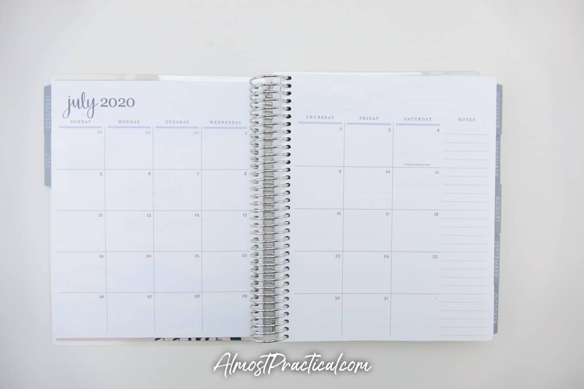Calendar pages pages in the Erin Condren Monthly Planner