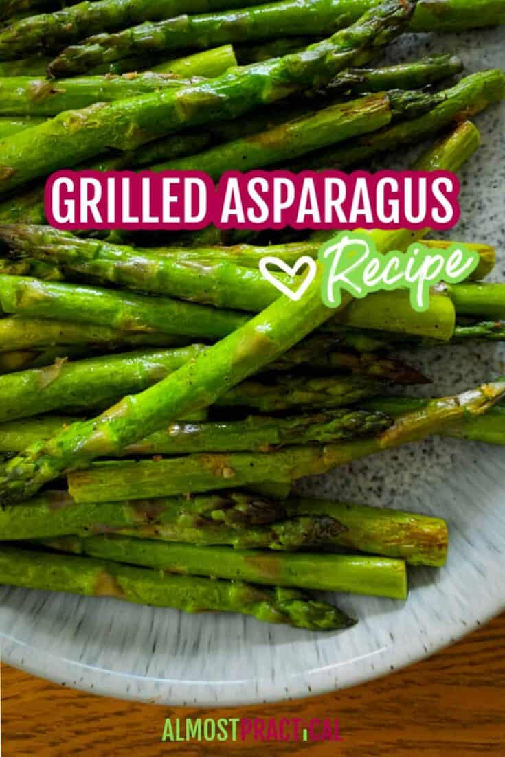 Grilled asparagus on a platter.
