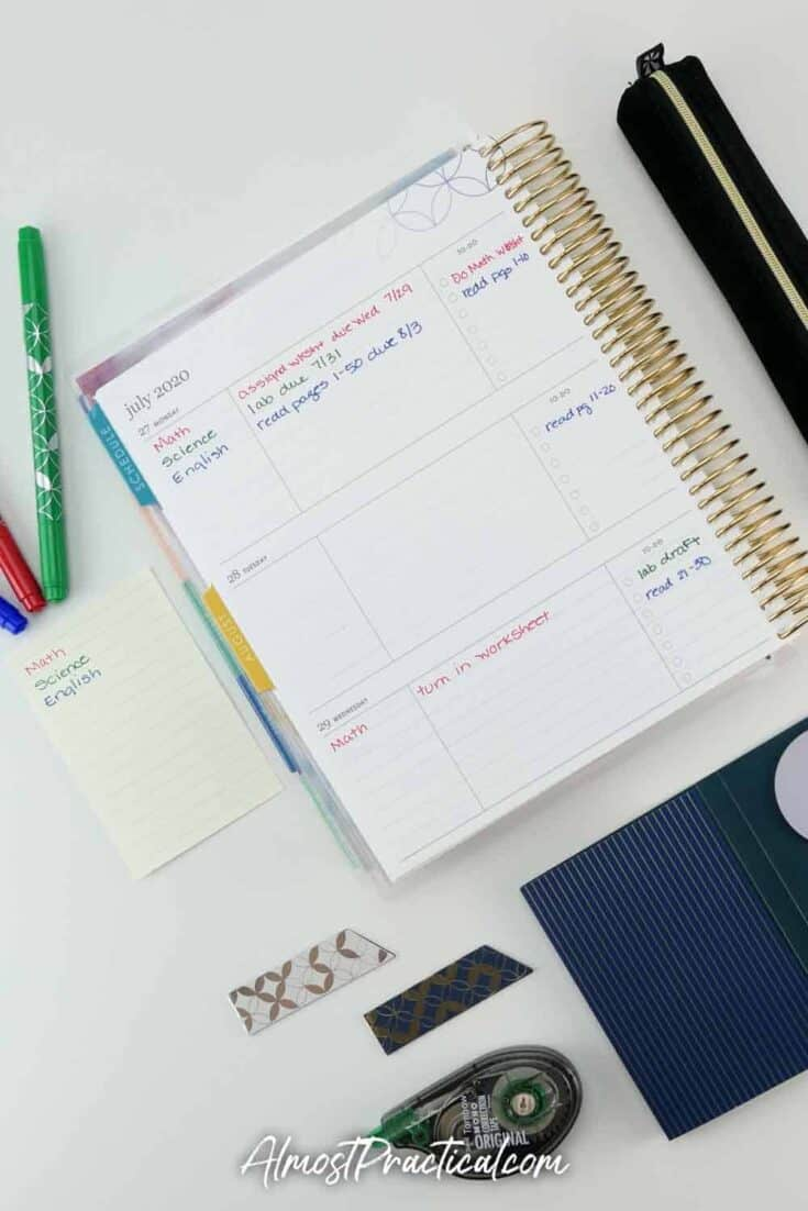 Erin Condren Academic planner and accessories.