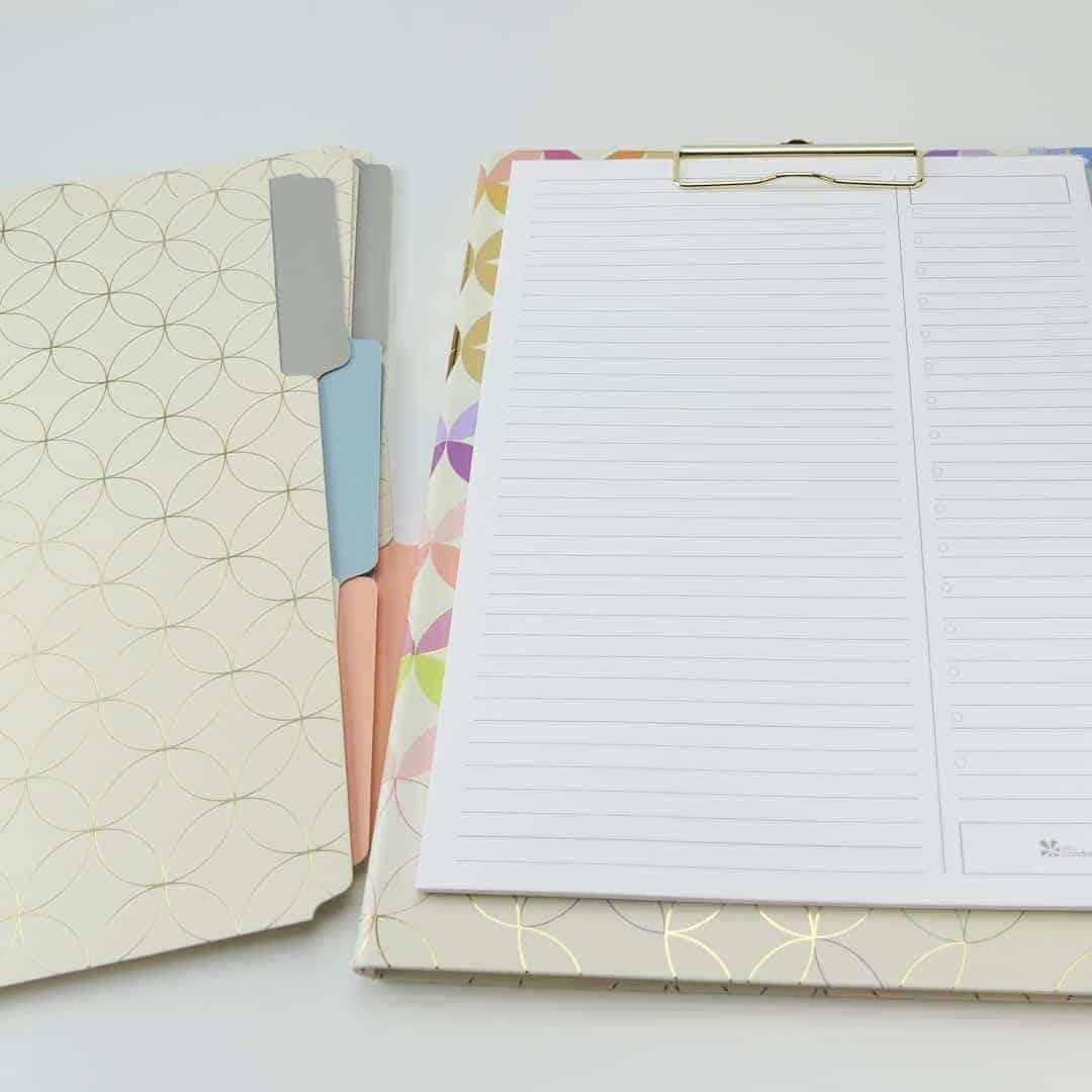 Erin Condren file folders and Clipfolio in Mid Century Circles Design