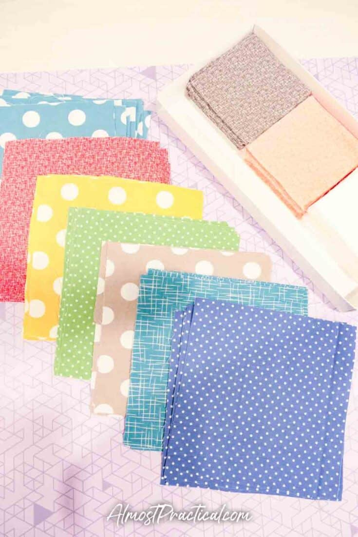 fabric squares for making a quilt