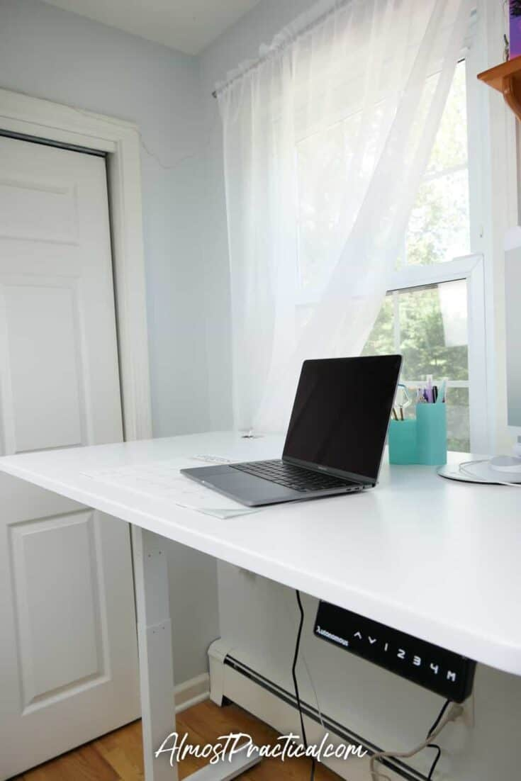 A standing desk positioned at standing height.