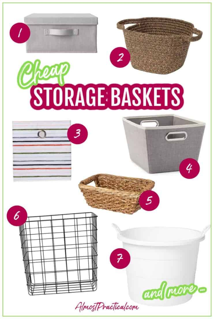 collage of different inexpensive storage baskets