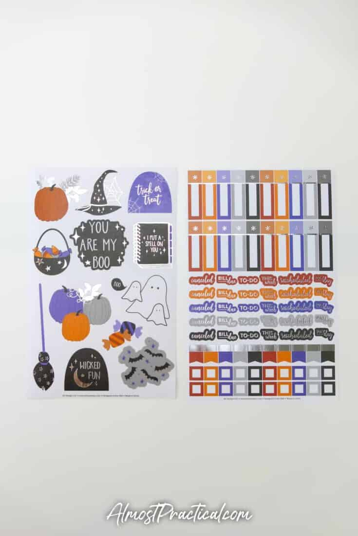 2 sheets of halloween themed planner stickers