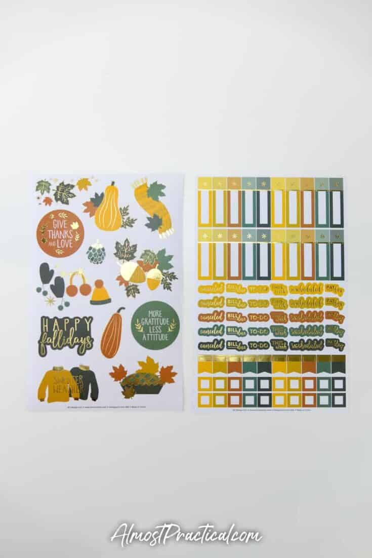 2 sheets of autumn themed planner stickers