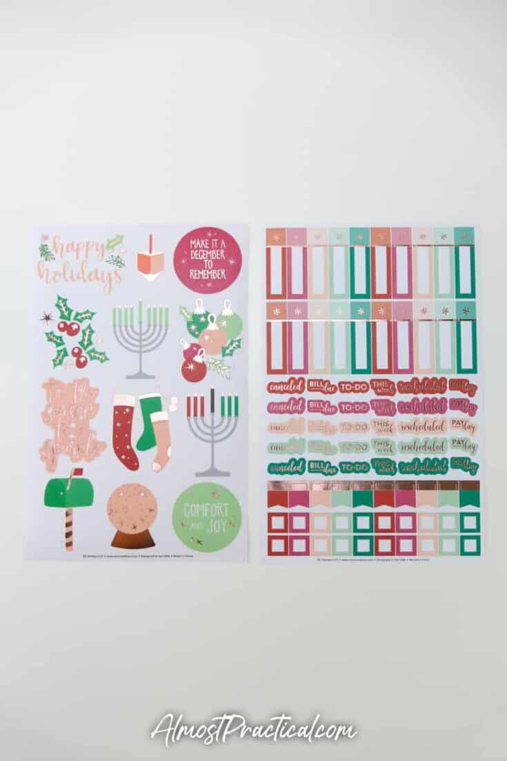 2 sheets of Christmas and Hanukah themed planner stickers