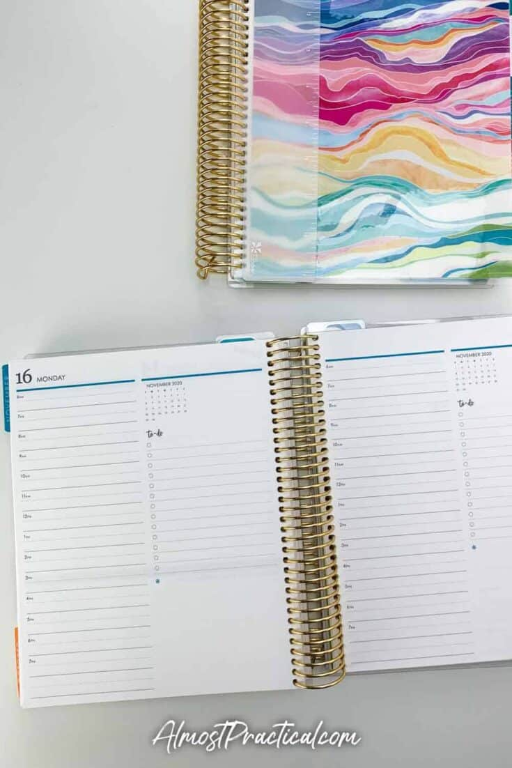 Erin Condren weekday page in the Daily Duo LifePlanner