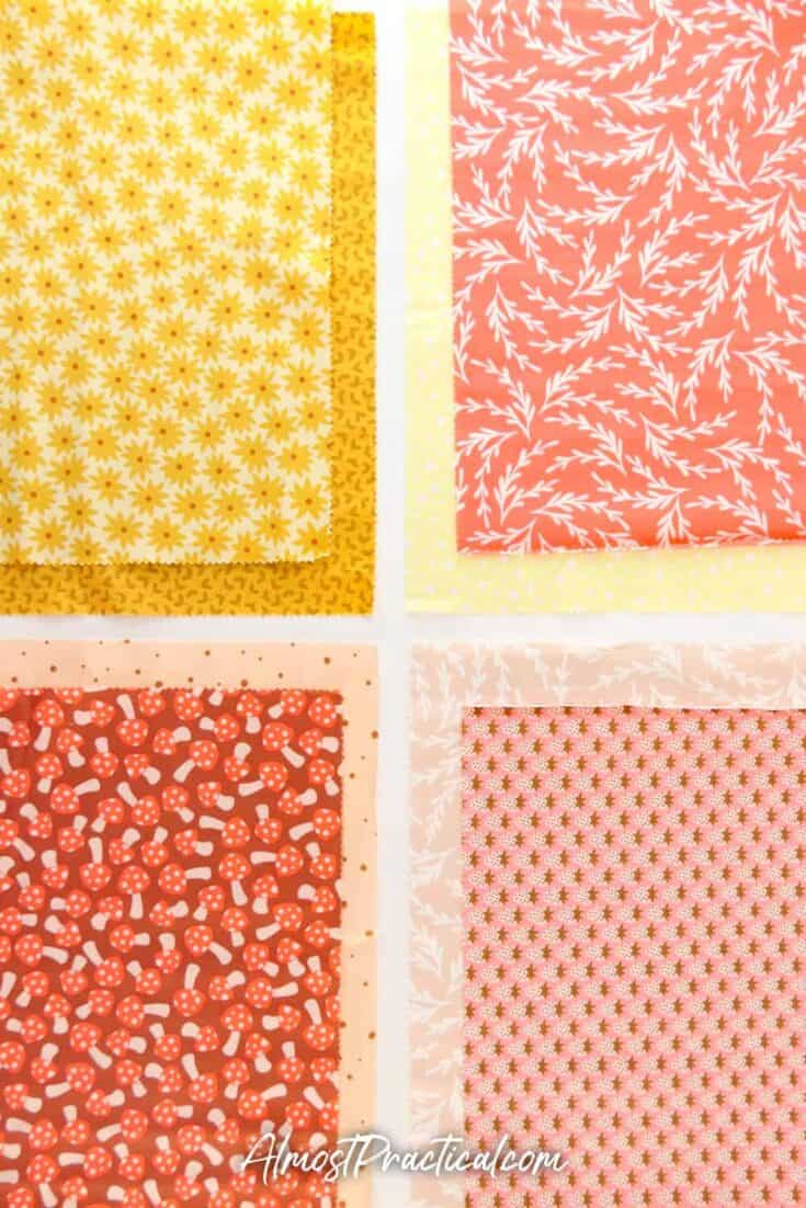 set of 8 pieces of fabrics in oranges and yellows