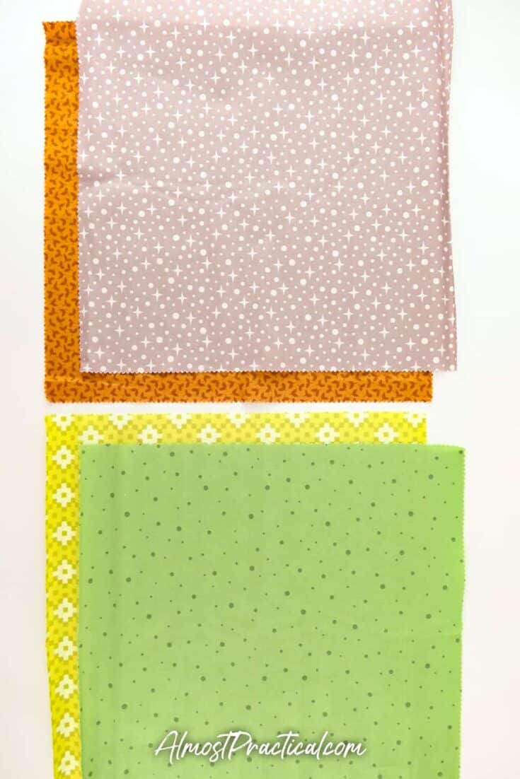 set of four fabrics in greens and browns.
