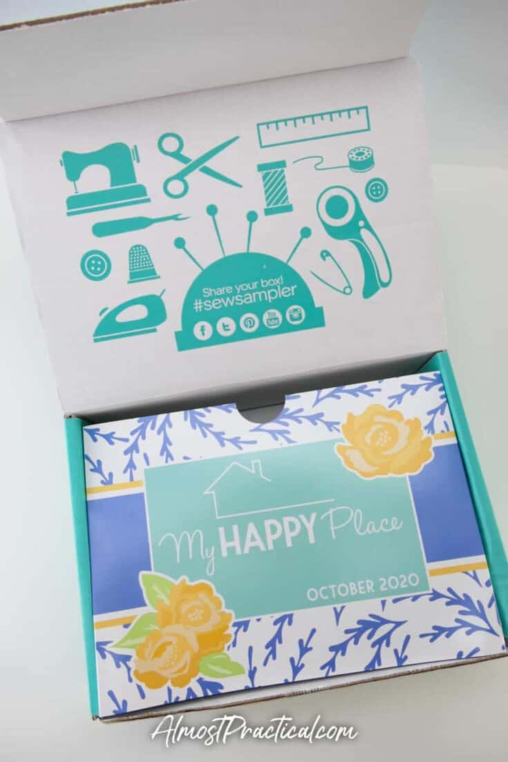 Sew Sampler Subscription Box with lid open.