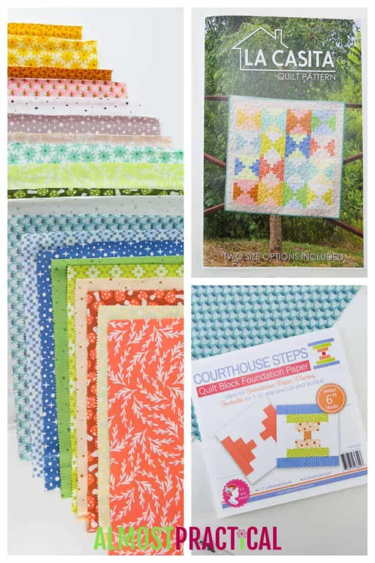 a collage of fabrics, quilt pattern, and foundation paper
