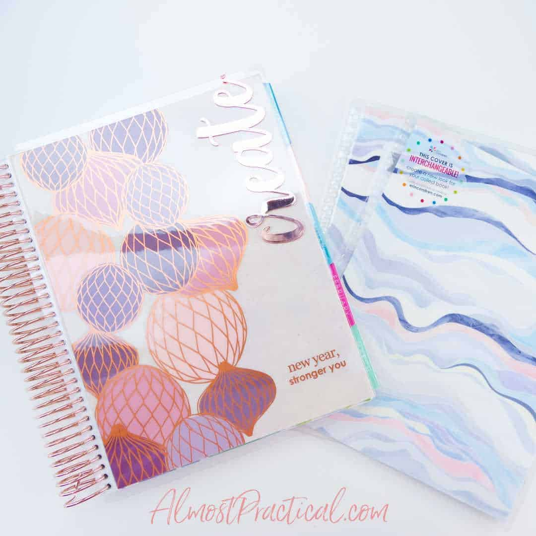 lifeplanner, interchangeable cover, and metallic bookmark that says create