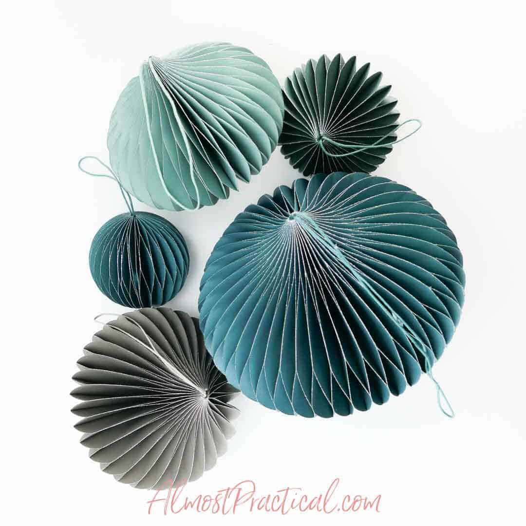 paper ornaments in a paper lantern style