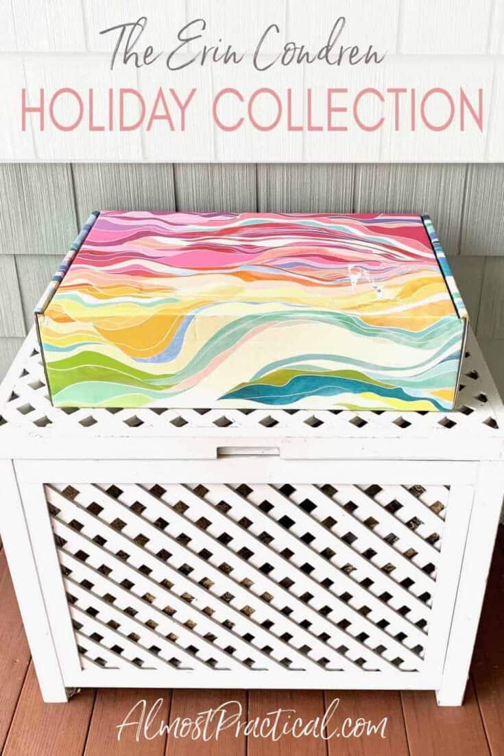 Shipping box in the Erin Condren Layers Colorful design on top of a lattice storage box.