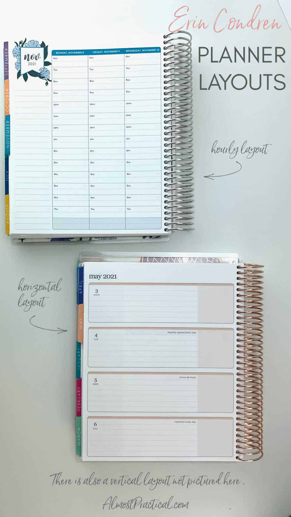 Erin Condren coiled LifePlanner showing the interior layouts of hourly and horizontal.