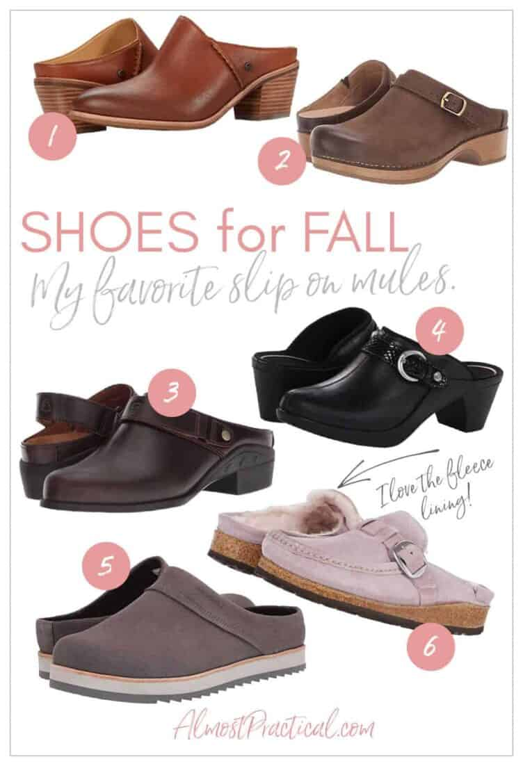 a collage of mule style women's shoes