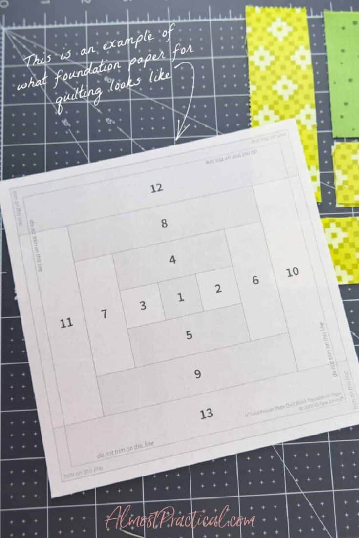 a piece of foundation paper for quilting in the Courthouse Steps pattern.