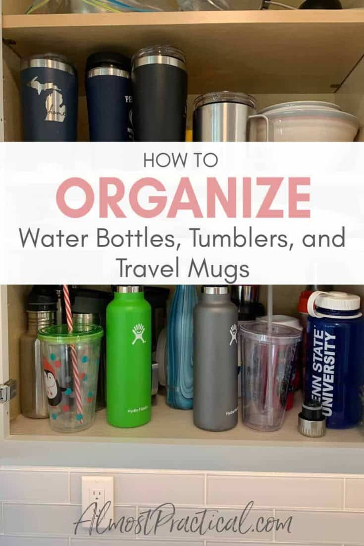 crowded cabinet full of reusable water bottles, tumblers, and travel mugs