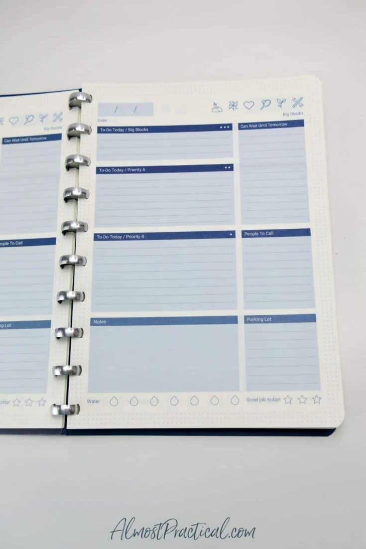 The Daily Task Manager Sheets inside The Perfect Notebook.