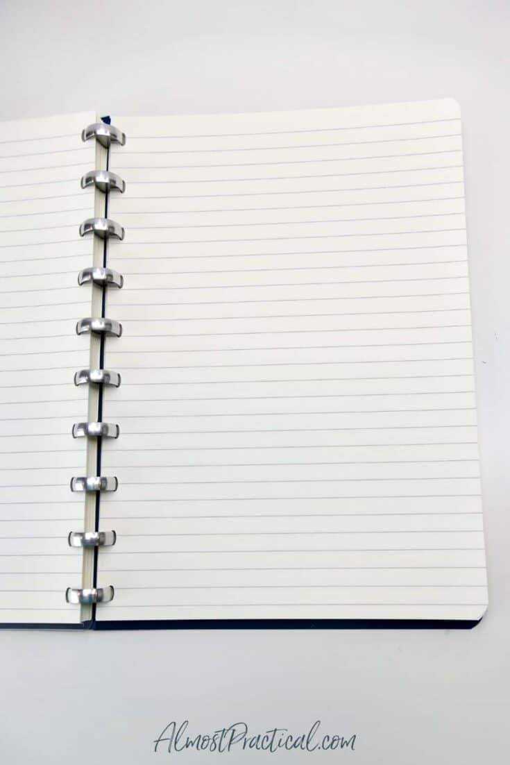 Blank lined notebook pages in The Perfect Notebook